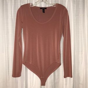 Forever 21 Tops - NBW Forever 21 Pink Long-Sleeve Bodysuit size M